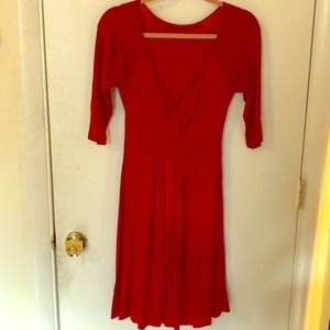 Rayon mid-length dress with front detail